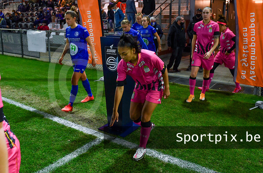 Jessica Silva Valdebenito (18 Charleroi) pictured entering the pitch during a female soccer game between  AA Gent Ladies and Sporting Charleroi Feminin on the fifth matchday of the 2020 - 2021 season of Belgian Scooore Womens Super League , friday 16 th of October 2020  in Oostakker , Belgium . PHOTO SPORTPIX.BE | SPP | DAVID CATRY