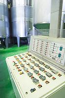 Fermentation tanks. Control panel. Vallformosa, Vilobi, Penedes, Catalonia, Spain