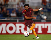 Calcio, Europa League: Roma vs Astra Giurgiu. Roma, stadio Olimpico, 29 settembre 2016.<br /> Roma's Mohamed Salah in action during the Europa League Group E soccer match between Roma and Astra Giurgiu at Rome's Olympic stadium, 29 September 2016. Roma won 4-0.<br /> UPDATE IMAGES PRESS/Isabella Bonotto