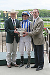 2011 05 14: Trophy presented to Ramon Dominguez  and connections of Alternation winning the Grade 2 Peter Pan Stakes for 3 year olds at 1 1/8 mile, Belmont Park. Trainer Donnie Von Hemel. Owner Pin Oak Stable