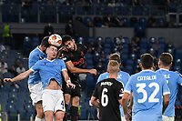 30th September 2021;  Stadio Olimpico, Rome, Italy;Europa League Football, SS Lazio versus Lokomotiv Moscow: Patric of SS Lazio and Pablo of FC Lokomotiv Moskva go up for a clearing header
