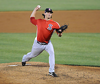 Pitcher Jeremy Kehrt (30) of the Salem Red Sox, a Boston Red Sox affiliate, in a game against the Potomac Nationals on June 8, 2012, at Pfitzner Stadium in Woodbridge, Virginia. Potomac won the second game of a doubleheader, 4-2. (Tom Priddy/Four Seam Images)