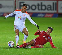 Blackpool's Jerry Yates battles with Accrington Stanley's Tom Scully<br /> <br /> Photographer Dave Howarth/CameraSport<br /> <br /> EFL Trophy Northern Section Group G - Accrington Stanley v Blackpool - Tuesday 6th October 2020 - Crown Ground - Accrington<br />  <br /> World Copyright © 2020 CameraSport. All rights reserved. 43 Linden Ave. Countesthorpe. Leicester. England. LE8 5PG - Tel: +44 (0) 116 277 4147 - admin@camerasport.com - www.camerasport.com