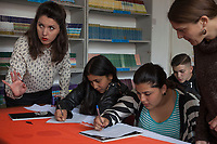 Serbia. Leskovac is a city and the administrative center of the Jablanica District in southern Serbia. «Petar Tasir» Elementary School. The school's students are all from Romani ethnicity. The class takes place in the library. Classroom. 8th Grade. Two Serbian teachers help Roma students to improve their poor knowledge with Serbian language and how to write it with fewer mistakes. The Romani (also spelled Romany) or Roma, Roms or Gypsies, are a traditionally itinerant ethnic group. The Pestalozzi Children's Foundation (Stiftung Kinderdorf Pestalozzi) is advocating access to high quality education for underprivileged children. It supports in Leskovac a project called» Together in transition».18.4.2018 © 2018 Didier Ruef for the Pestalozzi Children's Foundation
