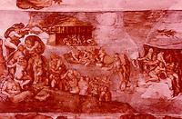 "Vatican:  Sistine Chapel--painting ""The Flood""."