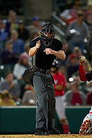 Umpire Richard Riley calls a strike during a game between the Worcester Red Sox and Rochester Red Wings on September 4, 2021 at Frontier Field in Rochester, New York.  (Mike Janes/Four Seam Images)