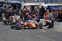 28th May 2021; Indianapolis, Indiana, USA;  NTT Indy Car Series driver Scott Dixon (9) performs a pit stop during Miller Lite Carb Day as teams prepare for the 105th running of the Indianapolis 500
