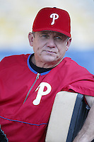 Philadelphia Phillies Manager Larry Bowa before a 2002 MLB season game against the Los Angeles Dodgers at Dodger Stadium, in Los Angeles, California. (Larry Goren/Four Seam Images)