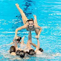Ukraina UKR<br /> ALEKSIIVA Maryna ALEKSIIVA V.<br /> APRIELIEVA V. HRYSHKO Veronika<br /> KOVALENKO O. NARIEZHNA Yana<br /> REZNIK Kateryna SAVCHUK Anastasiya<br /> SHYNKARENKO Alina YAKHNO Yelyzaveta<br /> Gwangju South Korea 18/07/2019<br /> Artistic Swimming Free Combination Preliminaries<br /> 18th FINA World Aquatics Championships<br /> Yeomju Gymnasium <br /> Photo © Giorgio Scala / Deepbluemedia / Insidefoto