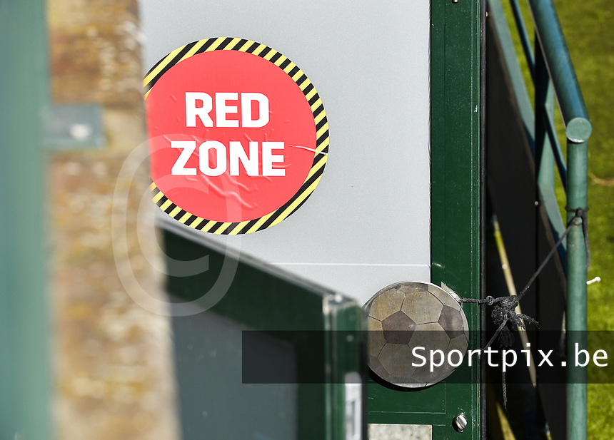illustraton picture showing the banner of RED ZONE during a soccer game between the national teams Under17 Youth teams of  Norway and Luxemburg on day 2 in the Qualifying round in group 3 on saturday 9 th of October 2020  in Tubize , Belgium . PHOTO SPORTPIX | DAVID CATRY