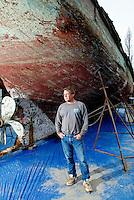 """John Steinbeck's marine specimen collection expedition aboard the Western Flyer was the basis for his non-fiction novel, """"The Sea of Cortez."""" <br /> <br /> A view of the Western Flyer ship once owned by  the author John Steinbeck, and now by John Gregg. After many failed attempts, the craft is being restored by Michael Hemp at a dry dock in Port Townsend, Washington. In 1940, Steinbeck and a small crew navigated the Western Flyer on a successful, yet sometimes ill-fated marine specimen collection expedition along the Gulf of California. The adventures served as inspiration for Steinbeck's prized non-fiction book, """"The Log from Sea of Cortez."""" Photo by Daniel Berman for Seattle Weekly."""