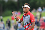 ISPS Handa Wales Open Golf final day at the Celtic Manor Resort in Newport, UK. : Thongchai Jaidee of Thialand finishes on the 18th green.