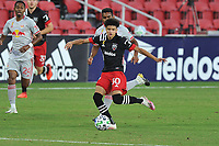 WASHINGTON, DC - SEPTEMBER 12: Kevin Paredes #30 of D.C. United passes off the ball during a game between New York Red Bulls and D.C. United at Audi Field on September 12, 2020 in Washington, DC.