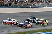 #12: Ryan Blaney, Team Penske, Ford Fusion REV, #11: Denny Hamlin, Joe Gibbs Racing, Toyota Camry FedEx Ground, #9: Chase Elliott, Hendrick Motorsports, Chevrolet Camaro NAPA NIGHTVISION LAMPS, #18: Kyle Busch, Joe Gibbs Racing, Toyota Camry M&M's