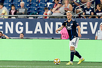 FOXBOROUGH, MA - SEPTEMBER 21: Antonio Mlinar Delamea #19 of New England Revolution looks to pass during a game between Real Salt Lake and New England Revolution at Gillette Stadium on September 21, 2019 in Foxborough, Massachusetts.