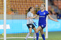 Houston, TX - Sunday Sept. 25, 2016: Beverly Yanez celebrates scoring during a regular season National Women's Soccer League (NWSL) match between the Houston Dash and the Seattle Reign FC at BBVA Compass Stadium.