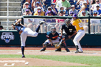 LSU Tigers third baseman Connor Hale (20) at bat during the NCAA College baseball World Series against the Cal State Fullerton on June 16, 2015 at TD Ameritrade Park in Omaha, Nebraska. LSU defeated Fullerton 5-3. (Andrew Woolley/Four Seam Images)