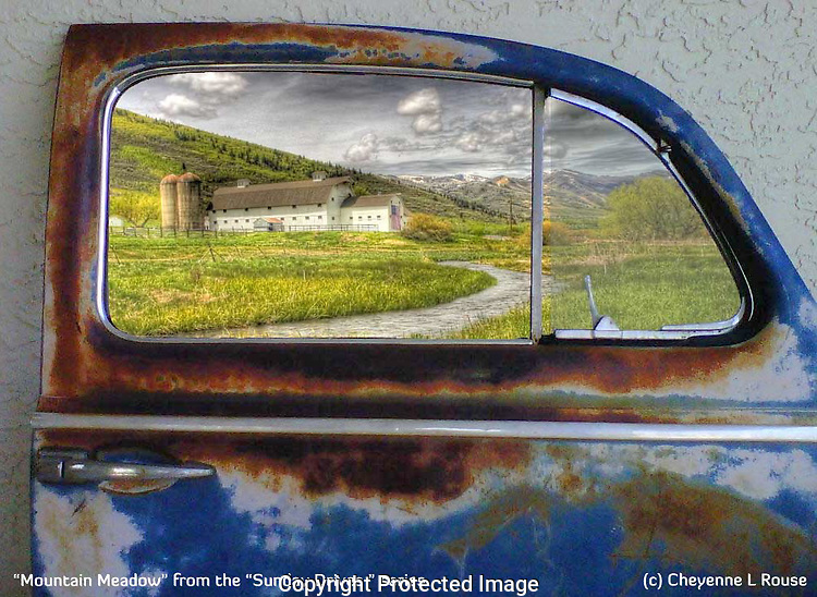 """This piece was sold to a collector in TN! Congrats! <br /> <br /> """"Mountain Meadows"""" is the part of my """"Sunday Drives"""" series - Where I take the viewer back to a time when Sunday drives were the highlight of the weekend and life was simple. Authentic old car doors are used to showcase a Giclee Fine Art Photograph on Canvas and can easily be hung on the wall with the heavy gauge wire hanger installed on the back. Please contact Cheyenne for pricing and shipping information. Each piece in this limited series is a one of a kind creation!"""