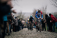 Stefan Küng (SUI/Groupama - FDJ) yelling his way up the Oude Kwaremont<br /> <br /> 71th Kuurne-Brussel-Kuurne 2019 <br /> Kuurne to Kuurne (BEL): 201km<br /> <br /> ©kramon