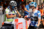 White Jersey Egan Bernal (COL) Ineos Grenadiers and Polka Dot Jersey Romain Bardet (FRA) Team DSM line up for the start of Stage 15 of La Vuelta d'Espana 2021, running 197.5km from Navalmoral de la Mata to El Barraco, Spain. 29th August 2021.     <br /> Picture: Luis Angel Gomez/Photogomezsport | Cyclefile<br /> <br /> All photos usage must carry mandatory copyright credit (© Cyclefile | Luis Angel Gomez/Photogomezsport)