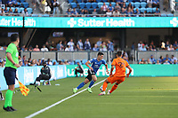 SAN JOSE, CAL - JULY 24: Cristian Espinoza #10 of the San Jose Earthquakes during a game between Houston Dynamo and San Jose Earthquakes at PayPal Park on July 24, 2021 in San Jose, Cal.