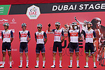 Trek-Segafredo at sign on before the start of Stage 6 of the 2021 UAE Tour running 165km from Deira Island to Palm Jumeirah, Dubai, UAE. 26th February 2021.  <br /> Picture: Eoin Clarke   Cyclefile<br /> <br /> All photos usage must carry mandatory copyright credit (© Cyclefile   Eoin Clarke)