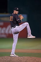 Modesto Nuts relief pitcher Anthony McIver (33) delivers a pitch during a California League game against the San Jose Giants at San Jose Municipal Stadium on May 15, 2018 in San Jose, California. Modesto defeated San Jose 7-5. (Zachary Lucy/Four Seam Images)