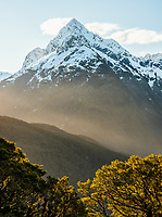 Mount Christina with native beech forest, Fiordland National Park, UNESCO World Heritage Area, Southland, New Zealand, NZ