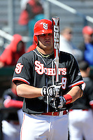 St.John's Red Storm catcher Joe Witkowski (9) during a game against Louisville Cardinals at Jack Kaiser Stadium in Queens, New York;  April 17, 2011.  St. John's defeated Louisville 7-2.  Photo By Tomasso DeRosa/Four Seam Images