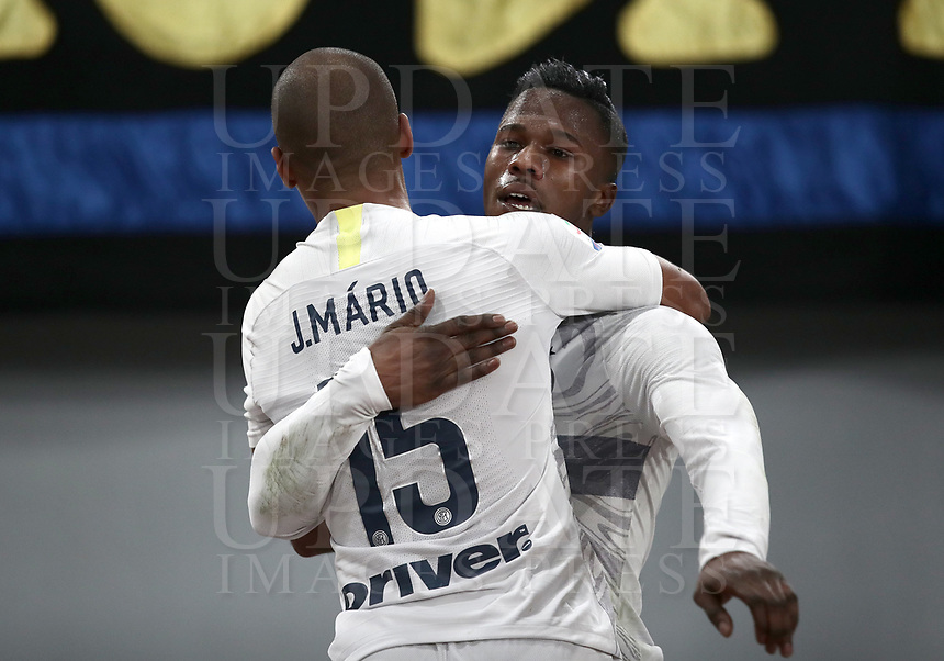 Football, Serie A: AS Roma - InterMilan, Olympic stadium, Rome, December 02, 2018. <br /> Inter's Keita Balde Diao (r) celebrates after scoring with his teammate Eduardo Joao Mario (l) during the Italian Serie A football match between Roma and Inter at Rome's Olympic stadium, on December 02, 2018.<br /> UPDATE IMAGES PRESS/Isabella Bonotto