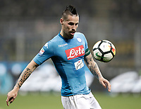 Calcio, Serie A: Inter - Napoli, Milano, stadio Giuseppe Meazza (San Siro), 11 marzo 2018.<br /> Napoli's captain Marek Hamsik in action during the Italian Serie A football match between Inter Milan and Napoli at Giuseppe Meazza (San Siro) stadium, March 11, 2018.<br /> UPDATE IMAGES PRESS/Isabella Bonotto