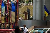 Kiev, Ukraine.August 24, 2005 ..Independence Day in Kiev, Ukraine. President Yushchinko gives a speech for the ceremonies on the Miadan Square...