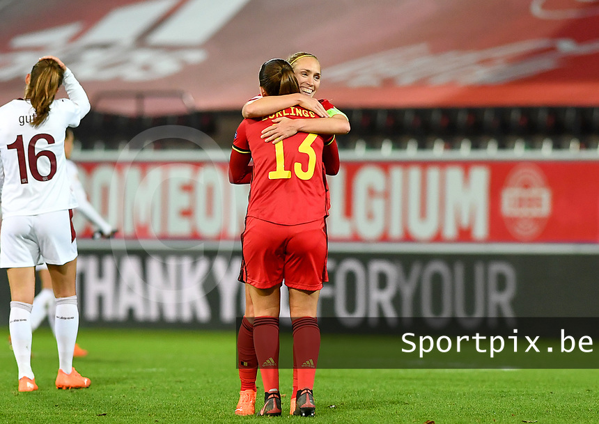 Belgian Hannah Eurlings pictured celebrating with Belgian Janice Cayman after winning during a female soccer game between the national teams of Belgium , called the Red Flames and Switzerland on the 8 th and last matchday in group H for the qualification for the Womens EURO 2022 in England , on Tuesday 1 th of December 2020  in Leuven , Belgium . PHOTO SPORTPIX.BE | SPP | DAVID CATRY