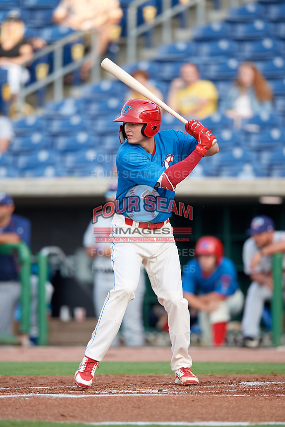Clearwater Threshers right fielder Mickey Moniak (2) at bat during a game against the Fort Myers Miracle on May 31, 2018 at Spectrum Field in Clearwater, Florida.  Clearwater defeated Fort Myers 5-1.  (Mike Janes/Four Seam Images)