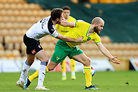 20th February 2021; Carrow Road, Norwich, Norfolk, England, English Football League Championship Football, Norwich versus Rotherham United; Lewis Wing of Rotherham United pulls the short of Teemu Pukki of Norwich City