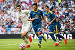 Alvaro Morata of Real Madrid and Facundo Roncaglia of Celta de Vigo fight for the ball during their La Liga match at the Santiago Bernabeu Stadium between Real Madrid and RC Celta de Vigo on 27 August 2016 in Madrid, Spain. Photo by Diego Gonzalez Souto / Power Sport Images