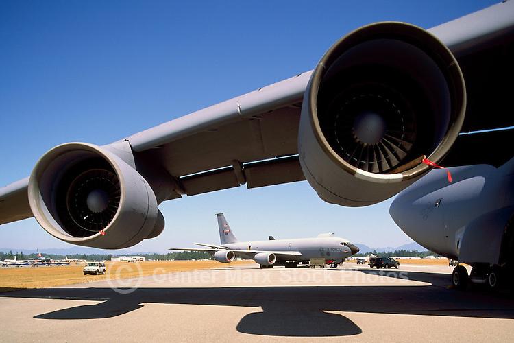 US Air Force Military Transport Aircraft on Static Display - at Abbotsford International Airshow, BC, British Columbia, Canada