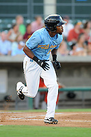 Outfielder Christopher Grayson (14) of the Myrtle Beach Pelicans in a game against the Frederick Keys on August 4, 2012, at TicketReturn.Com Field in Myrtle Beach, South Carolina. Myrtle Beach won, 4-3. (Tom Priddy/Four Seam Images).