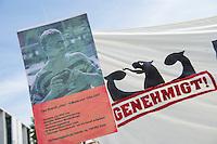 """Mitglieder der Buergerrechtsorganisation Humanistische Union protestierten am Montag den 8. Juni 2015 vor dem Bundestag gegen das geplante neue Verfassungsschutzgesetz in dem die langjaehrige Praxis, dass Spitzel des Verfassungsschutz Straftaten begehen koennen, legalisiert werden soll. Die Regierung stelle damit den Spitzeln einen """"Freifahrtschein fuer Straftaten aus"""", so die Humanistische Union.<br /> Auf Plakaten wurden aufgeflogene Verfassungsschutz-Spitzel und deren Gehaelter gezeigt. Unter ihnen etliche Neonazis, die u.a. an der Terrororganisation NSU mittelbar beteiligt waren oder schwerste Straftaten begangen haben.<br /> Im Bild: Ein Plakat mit der Konterfei des V-Mann Tino Brandt.<br /> 8.2.2015, Berlin<br /> Copyright: Christian-Ditsch.de<br /> [Inhaltsveraendernde Manipulation des Fotos nur nach ausdruecklicher Genehmigung des Fotografen. Vereinbarungen ueber Abtretung von Persoenlichkeitsrechten/Model Release der abgebildeten Person/Personen liegen nicht vor. NO MODEL RELEASE! Nur fuer Redaktionelle Zwecke. Don't publish without copyright Christian-Ditsch.de, Veroeffentlichung nur mit Fotografennennung, sowie gegen Honorar, MwSt. und Beleg. Konto: I N G - D i B a, IBAN DE58500105175400192269, BIC INGDDEFFXXX, Kontakt: post@christian-ditsch.de<br /> Bei der Bearbeitung der Dateiinformationen darf die Urheberkennzeichnung in den EXIF- und  IPTC-Daten nicht entfernt werden, diese sind in digitalen Medien nach §95c UrhG rechtlich geschuetzt. Der Urhebervermerk wird gemaess §13 UrhG verlangt.]"""