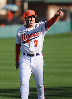 Head coach Jack Leggett of the Clemson Tigers signals to fans before a game against the William & Mary Tribe on Opening Day, Friday, February 15, 2013, at Doug Kingsmore Stadium in Clemson, South Carolina. Clemson won, 2-0. (Tom Priddy/Four Seam Images)