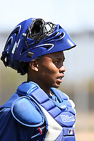 Leonel De Los Santos, Texas Rangers minor league spring training..Photo by:  Bill Mitchell/Four Seam Images.