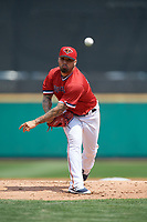 Rochester Red Wings starting pitcher Hector Santiago (43) during a game against the Columbus Clippers on August 9, 2017 at Frontier Field in Rochester, New York.  Rochester defeated Columbus 12-3.  (Mike Janes/Four Seam Images)
