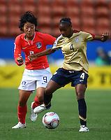 Crystal Dunn (USA) keeps the ball from Hyun Young Lee (KOR).FIFA U17 Women's World Cup, USA v Korea Republic, Waikato Stadium, Hamilton, New Zealand, Sunday 9 November 2008. Photo: Renee McKay/PHOTOSPORT