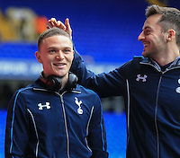 05.03.2016. White Hart Lane, London, England. Barclays Premier League. Tottenham Hotspur versus Arsenal. Ryan Mason of Tottenham Hotspur  appears to poke fun at the hairstyle of Kieran Trippier of Tottenham Hotspur before the game. ; Mason was made interim team manager for 2021 season after Spurs sacked Jose Mourinho. Mason retired from playing for Tottenham after suffering a fractured skull in a game in early 2017 at Hull.