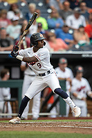 Auburn Tigers second baseman Ryan Bliss (9) at bat during Game 7 of the NCAA College World Series against the Louisville Cardinals on June 18, 2019 at TD Ameritrade Park in Omaha, Nebraska. Louisville defeated Auburn 5-3. (Andrew Woolley/Four Seam Images)