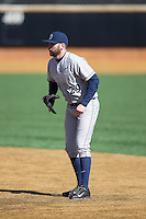 Georgetown Hoyas first baseman Alex Bernauer (29) on defense against the Bucknell Bison at Wake Forest Baseball Park on February 14, 2015 in Winston-Salem, North Carolina.  The Hoyas defeated the Bison 8-5.  (Brian Westerholt/Four Seam Images)