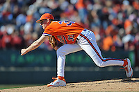 Clemson Tigers pitcher Zack Erwin #33 delivers a pitch during a game against the South Carolina Gamecocks at Fluor Field on March 1, 2014 in Greenville, South Carolina. The Gamecocks defeated the Tigers 10-2. (Tony Farlow/Four Seam Images)