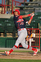 Peoria Chiefs Edmundo Sosa (37) swings during the Midwest League game against the Burlington Bees at Community Field on June 8, 2016 in Burlington, Iowa.  Burlington won 4-2.  (Dennis Hubbard/Four Seam Images)
