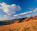 A morning sky over the foothill west of Denver in the Red Rocks Park and Amphitheater, Colorado.