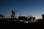 Leicester City 0 Manchester City 0, 29/12/2015. King Power Stadium, Premier League. The King Power Stadium Leicester, photographed from the site of Leicester's former ground Filbert Street, with a power station in the foreground; before the goalless draw between Leicester City and Manchester City. Photo by Paul Thompson.